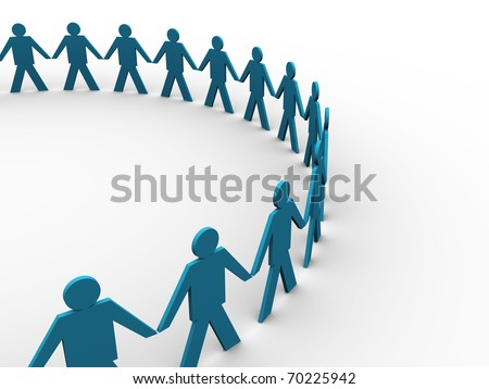 people holding hands in a big circle - this is a render illustration