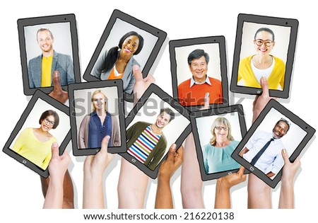 People Holding Tablets with People Profiles