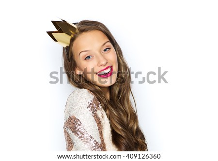 people, holidays and celebration concept - happy young woman or teen girl in party dress and princess crown - stock photo