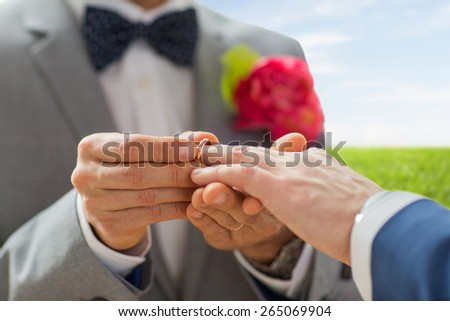 people, homosexuality, same-sex marriage and love concept - close up of happy male gay couple hands putting wedding ring on over blue sky and grass background - stock photo