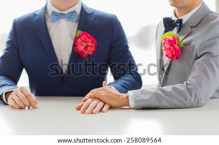 people, homosexuality, same-sex marriage and love concept - close up of happy married male gay couple in suits with buttonholes and bow-ties holding hands on wedding - stock photo