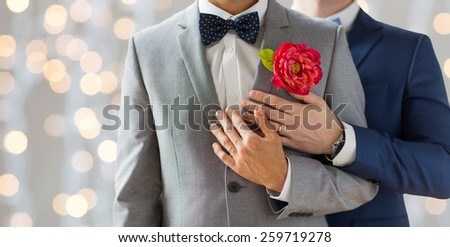 people, homosexuality, same-sex marriage and love concept - close up of happy married male gay couple in suits with buttonholes and bow-ties on wedding over holidays lights background - stock photo