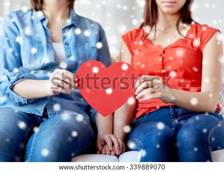 people, homosexuality, same-sex marriage, holidays and love concept - close up of happy lesbian couple holding red paper hearts over snow effect - stock photo
