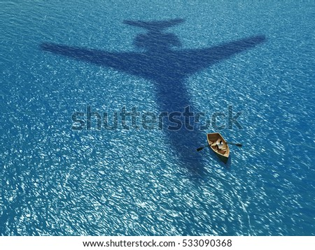 People in a boat under a flying plane, 3d illustration