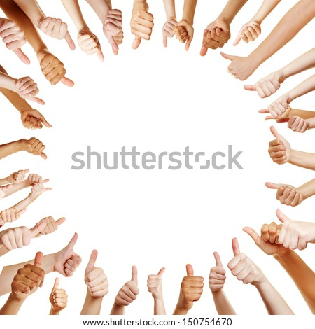 People in a circle holding thumbs up for congratulation as a team