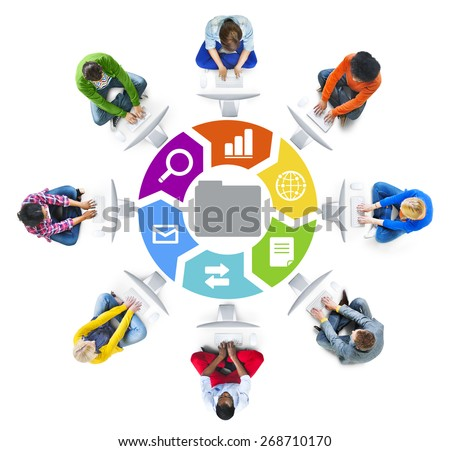 People in a Circle Using Computer with Data Concept - stock photo