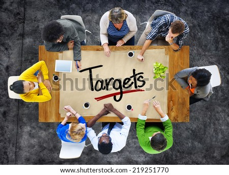 People in a Meeting and Target Concept - stock photo
