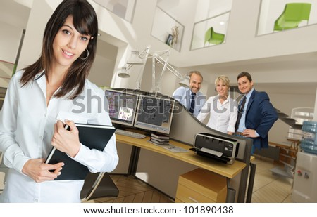 People in a modern beautiful office