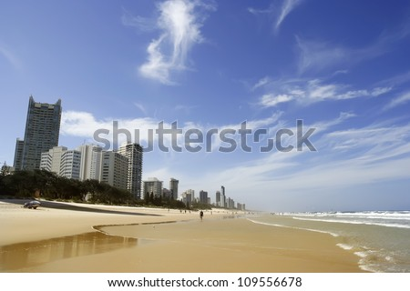 People in Australia, Gold Coast beach - stock photo