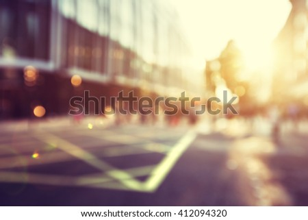 people in bokeh, street of London - stock photo