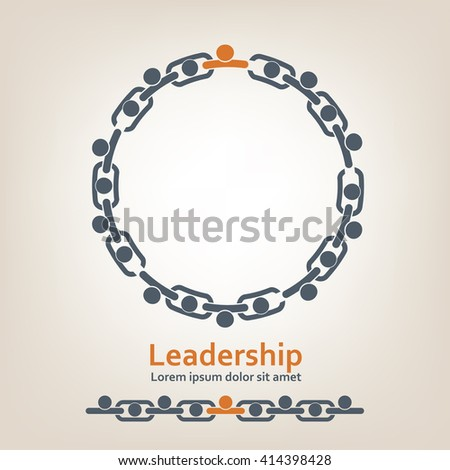 People in chain. Leadership - stock photo