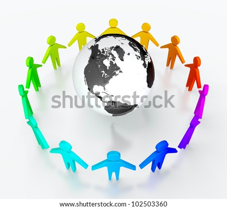 People in circle surrounding the Earth. Symbol of global communication.