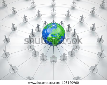 People in circle surrounding the Earth. Symbol of global communication. - stock photo