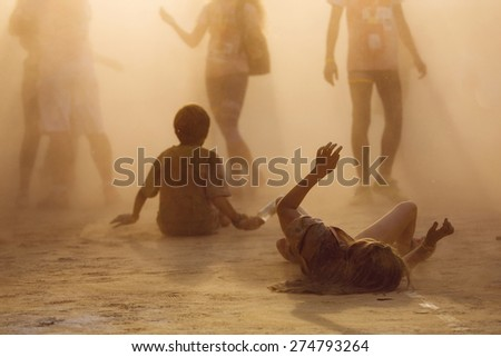 people in dust - stock photo