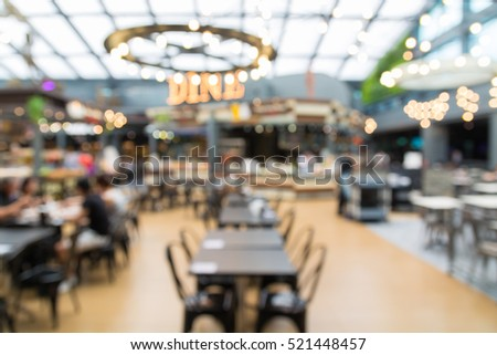 People in Food Center or Food Court or Food Park, Abstract Blur Defocus Background