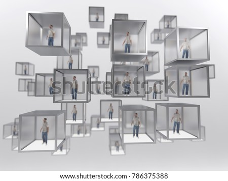 people in glass cubes, 3d illustration