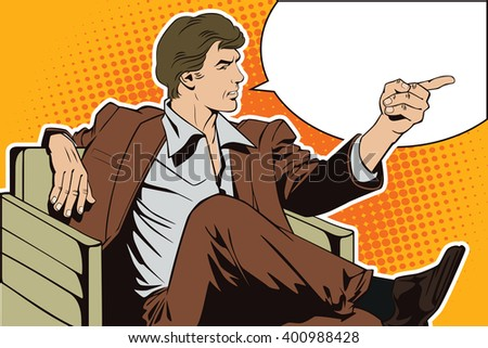 People in retro style pop art and vintage advertising. Sitting man points a finger