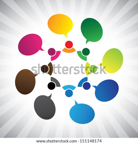 people in social network talking or chatting- graphic. This illustration can also represent group discussion, employee meetings, interaction in schools among children & kids, people expressing - stock photo
