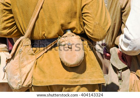People in Soviet military uniforms and ammunition during the Second World War. reconstructive composition - stock photo