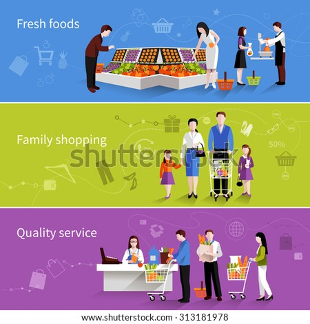 People in supermarket flat horizontal banners set with fresh foods family shopping quality service elements isolated  illustration - stock photo