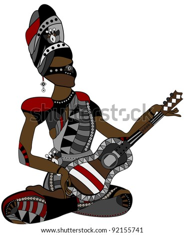 people in the ethnic style of sitting with a guitar in his hands - stock photo