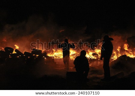 People in the fire take part in a clash at Grushevskogo street during anti-government protest in Kiev, Ukraine, January 25, 2014