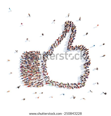 people in the form of arms depicting Like. - stock photo