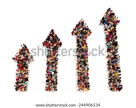 People in the form of arrows with gradual increasing on a white background.  - stock photo