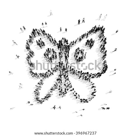 people in the shape of a butterfly