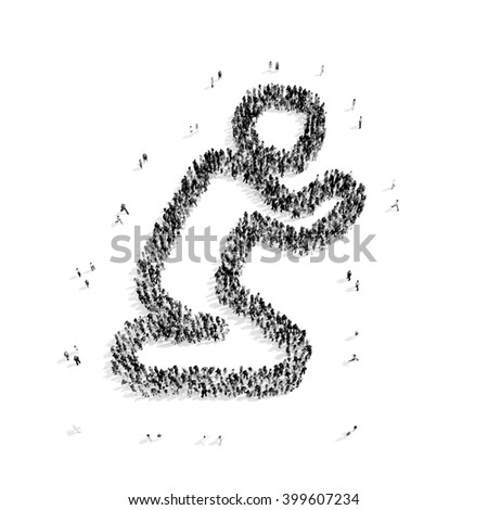 people in the shape of a man praying, religion - stock photo
