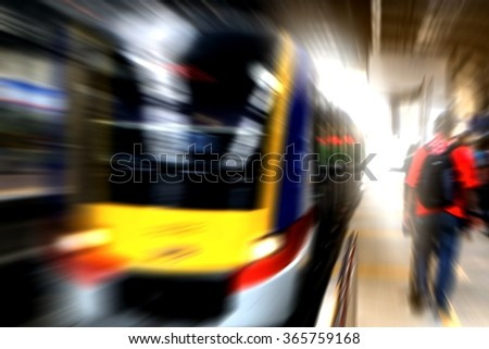 People in train station - stock photo