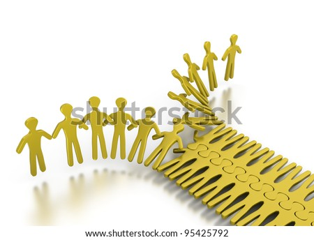 People integrating in an orderly way for strength and teamwork on a white background - stock photo