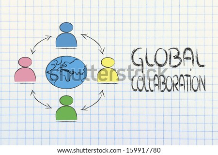 people interacting across the world, metaphor of global business communications, networks and collaboration