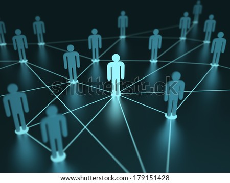 People interconnected with depth of field on the concept of team. - stock photo