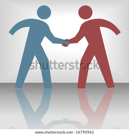 People join in handshake & agree to a cooperate in a business or other deal as a team. - stock photo