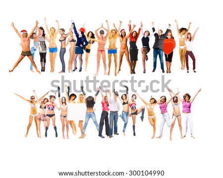 People Jumping Bright Idea  - stock photo