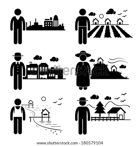 People Living in City Cottage House Small Town Highlands Seaside Village Home Stick Figure Pictogram Icon - stock photo