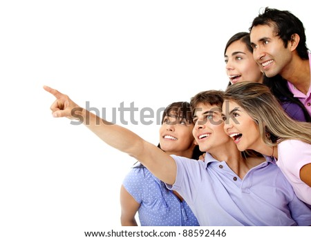 People looking at something where a man is pointing - isolated - stock photo