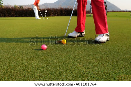 people love to play golf at the morning - stock photo