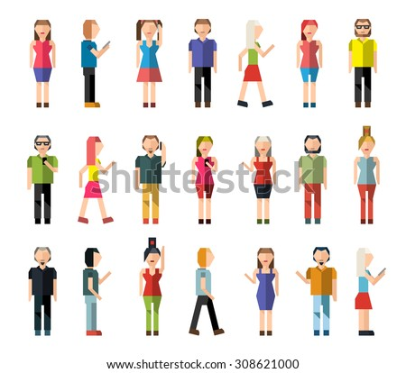 People male and female pixel avatar group decorative icons set isolated  illustration