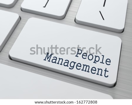People Management  - Button on White Modern Computer Keyboard. - stock photo
