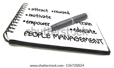 People Management Flow Chart notes - stock photo