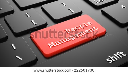 People Management on Red Button Enter on Black Computer Keyboard. - stock photo