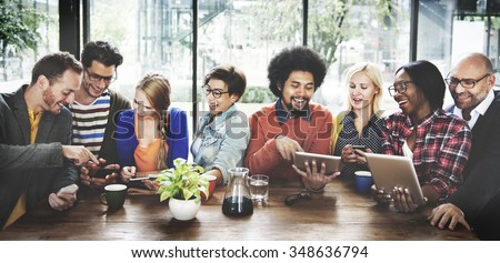 People Meeting Communication Technology Digital Tablet Concept - stock photo