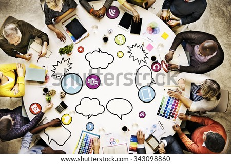 People Meeting Connection Social Networking Communication Concept - stock photo