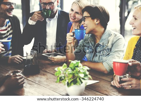 People Meeting Friendship Togetherness Coffee Shop Concept - stock photo
