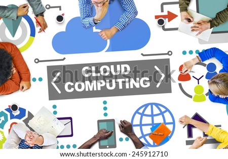 People Meeting Global Communications Cloud Computing Concept - stock photo