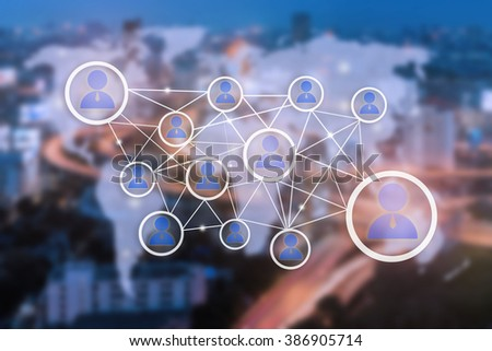 People network icons and World map connection,Network work connections concept - stock photo