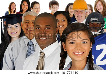 People of all different races and professions - stock photo