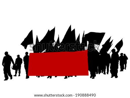 People of anarchia with large flags - stock photo